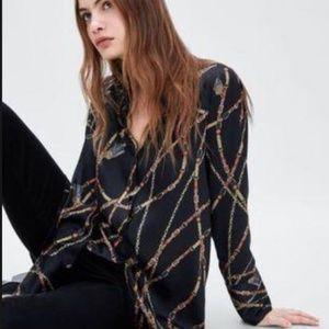 Zara button down chain blouse